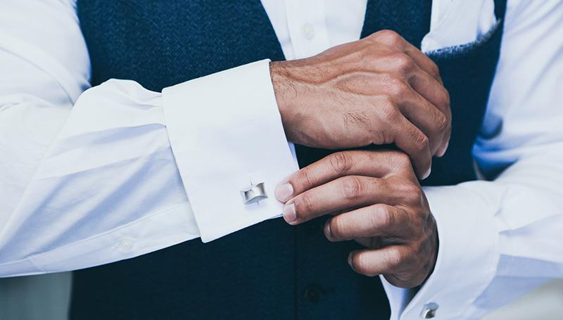 Manschetten Hemd Silberne Manschettenknöpfe Männerreich
